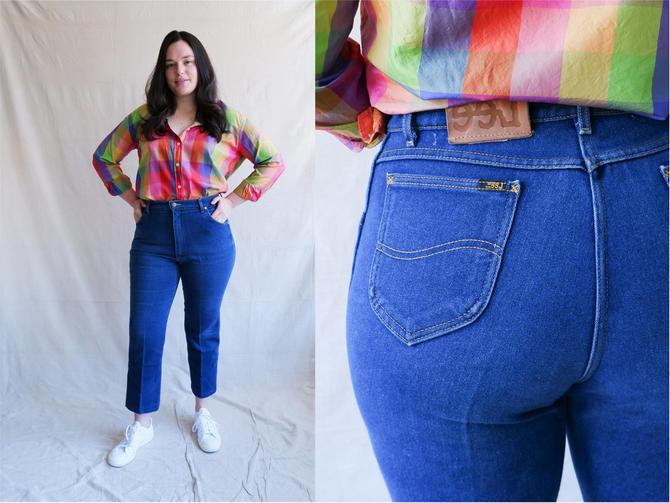 Vintage 80s Stretch Lee Denim/ 1980s High Waisted Dark Wash Straight Leg Jeans/ Size 33 Large by bottleofbread