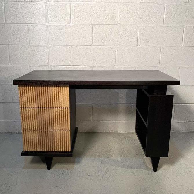 American of Martinsville Faux Bamboo Mahogany Vanity Desk