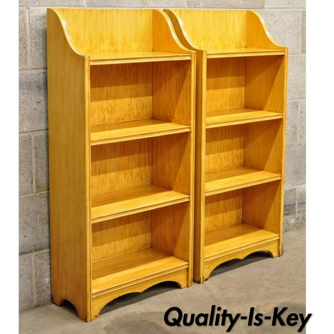 Pair of Vintage Small Yellow Grain Painted Wooden Primitive Bookcase Shelves
