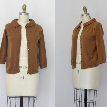 GO SOFT Vintage 50s VICUNA Sweater | Rare 1950s Ballantyne 100% Vicuna Wool Fully Fashioned Cardigan | 60s 1960s Brown Knit Top | Size Small by lovestreetsf