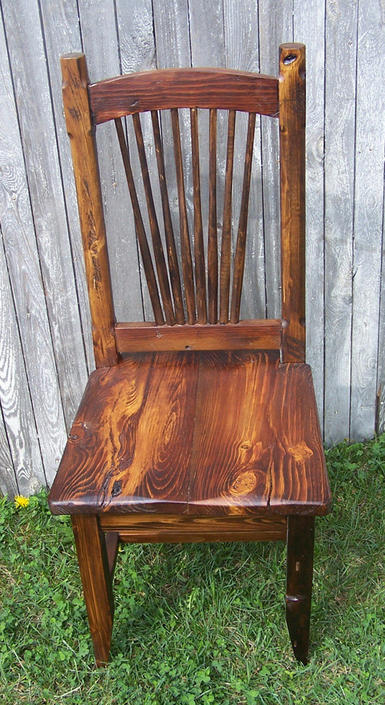 Reclaimed Knotty Pine Rustic Spindle Back Chairs by BarnWoodFurniture