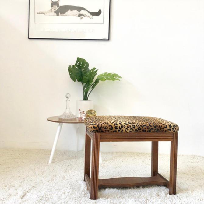 Cheetah Print Vintage Ottoman