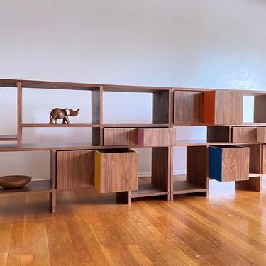 MODUL METAMORPHOSIS - Walnut  Mid Century Modern / Modular Shelving Unit / Sideboard / Credenza / Room Divider by JellumDesign