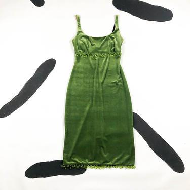 90s Betsey Johnson Green Velvet Spaghetti Strap Midi Dress / Beaded Fringe Trim / Bra Strap / Bodycon / Wiggle / by badatpettingcats