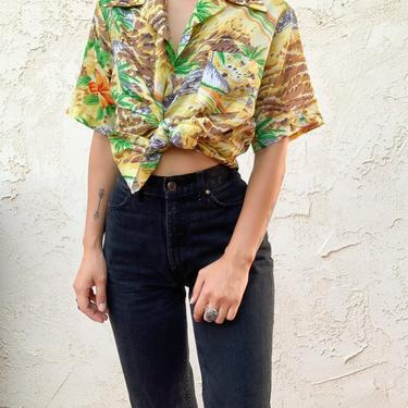 Vintage 70's FM Plato Yellow Tropical Printed Hawaiian Button Down Shirt by CottontailTrdPost