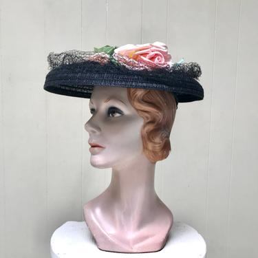 Vintage 1940s Black Straw Hat with Inner Cap, Wide Brim Horsehair Sun Bonnet with Pink Rose Trim. by RanchQueenVintage