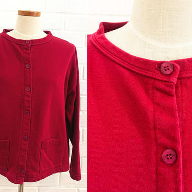 True Vintage Cranberry Cardigan Sweater 90s Maroon 1990s Long Sleeve Button Front Sweatshirt Boxy Oversized Cozy Minimal XL Plus XXL Volup by CheckEngineVintage