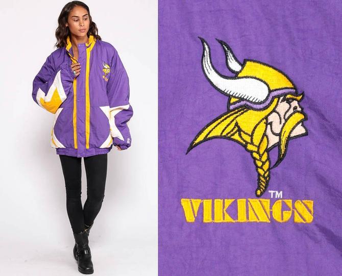 sale retailer d1ba1 4157a Minnesota Vikings Jacket Starter Jacket 90s Football NFL Windbreaker Sports  80s Vintage Retro Purple Extra Large xl 2xl xxl plus size by ShopExile