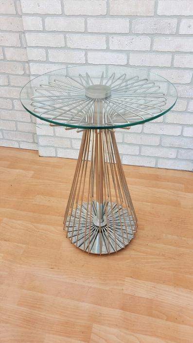 Vintage Modern Radius Collection Wire Form Glass Top Side Table