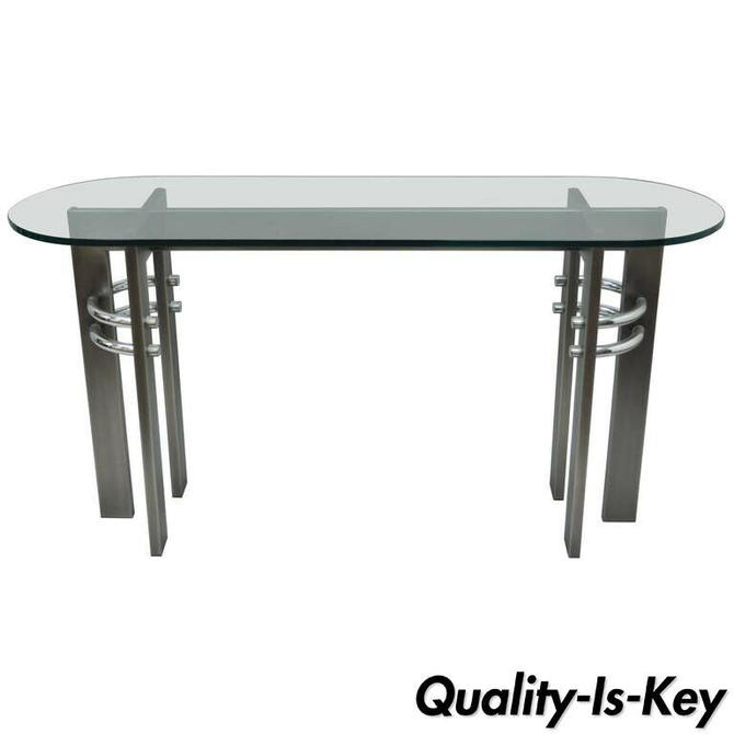 Design Institute of America DIA Brushed Metal, Chrome & Glass Console Sofa Table