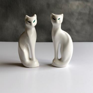 White Siamese Cat Statues. Ceramic Siamese Cats by Northforkvintageshop