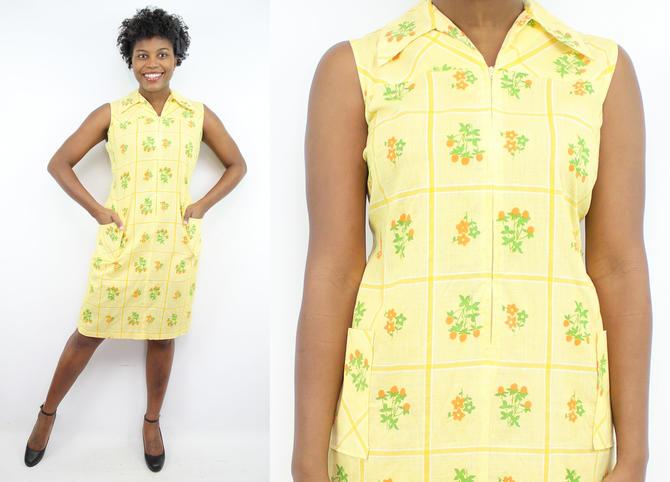 Vintage 60\'s 70\'s Yellow Flowers Shift Dress / 1960\'s Floral Shift Dress /  House Dress / Pockets / Women\'s Size XL / Plus Size 1X 2X by ...