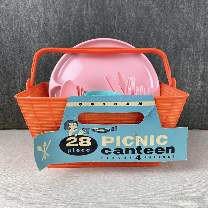 Gothamware Picnic Canteen plastic set for 4 - 1960s vintage picnic set by NextStageVintage