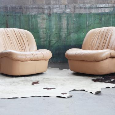 FANTASTIC 80's Beige Leather Post Modern Upholstered Sculptural Lounge Chair with Gliding / Rocking feature! (Pair Avail, sold Individually) by CatchMyDriftVintage