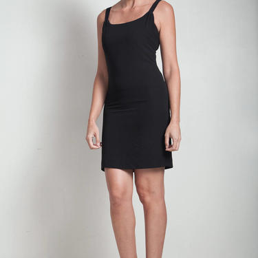 80s vintage little black dress mini LBD gathered strap EXTRA Small XS by shoprabbithole
