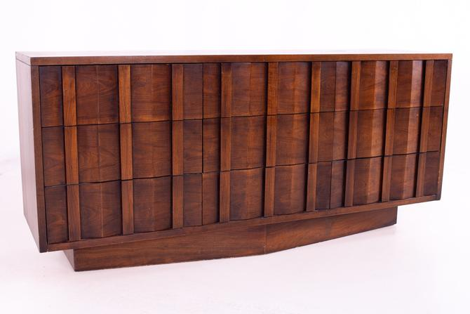Lane Brutalist Mid Century Chevron Base 9 Drawer Walnut Lowboy Dresser - mcm by ModernHill