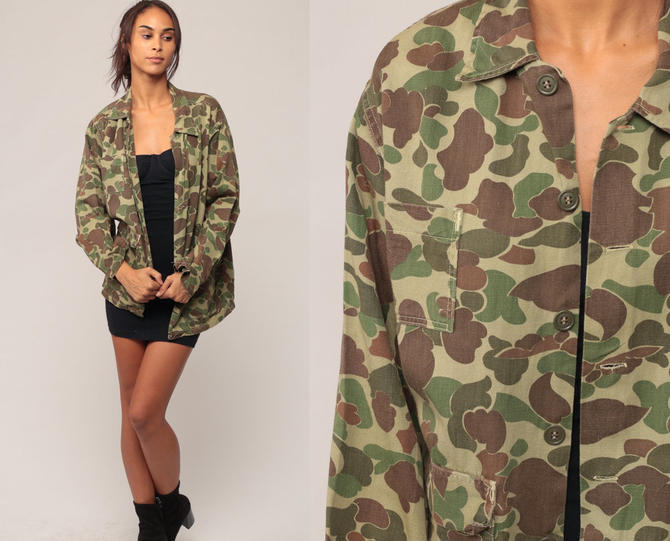 2f338df29b072d Camouflage Shirt Camo Shirt Military Shirt Army 80s Commando Cotton Button  Up Grunge Oversized 90s Vintage