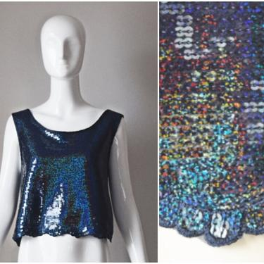 vtg 90s navy blue sequin scallop trim lace tank top | y2k 1990s | womens lined cropped party holiday shirt blouse by PinkhamRoadRetro