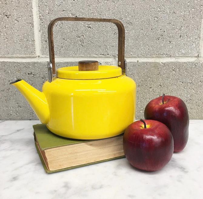Vintage Tea Kettle Retro 1960s Copco + Michael Lax + Mid Century Modern + Yellow + Enamelware + Wood Handles + MCM + Home and Kitchen Decor by RetrospectVintage215