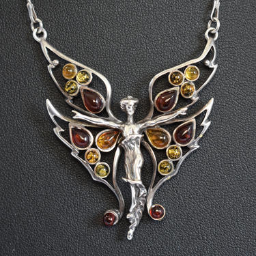 70's sterling amber winged goddess mystic hippie affixed pendant, handcrafted 925 silver multicolored amber beads butterfly woman necklace by BetseysBeauties