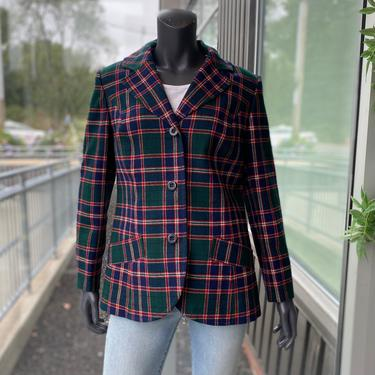 PENDLETON Vintage 1970s 100% Virgin Wool Women's 3-Button Tartan Plaid Blazer Jacket - Size 16 - Green, Navy Blue & Red by AIDSActionCommittee