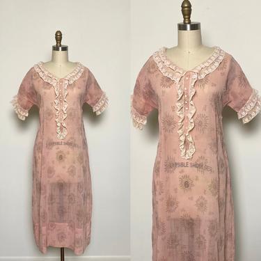 Vintage 1920s Cotton Dress Late 1930s Sheer Pink Day Dress 20s, 30s by littlestarsvintage