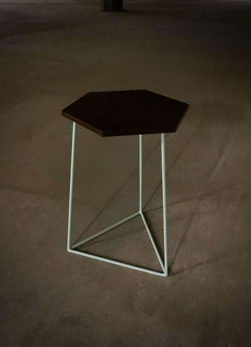 End Table, Hexagonal Table, Modern Hexagon Walnut Side Table with Triangle Steel Base by PWHFurniture