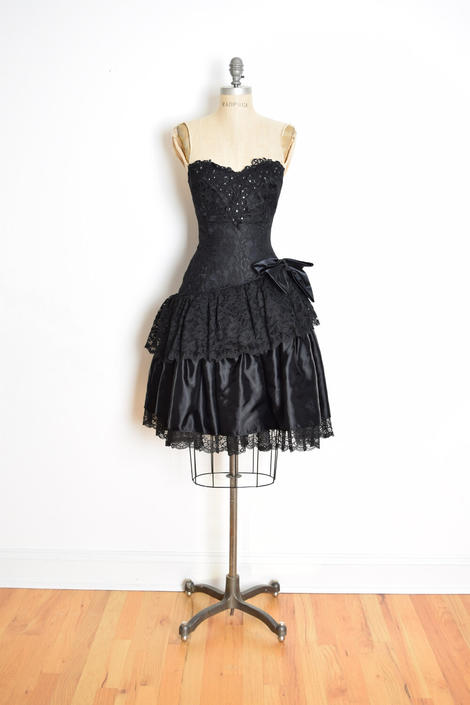 vintage 80s prom dress black satin lace strapless goth party dress ...