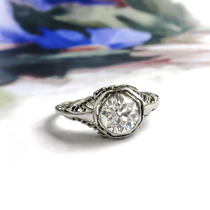 Art Deco .91ct Old European Cut Diamond Octagonal Filigree Engagement Ring 14K White Gold by YourJewelryFinder