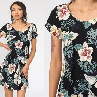 90s Floral Dress Black Hawaiian Tropical Mini Sundress Flower Print Summer Dress Boho 1990s Bohemian Vintage Shift Sleeveless Petite Small by ShopExile