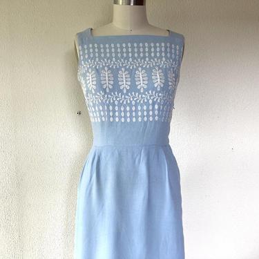 1950s Toni Todd pale blue wiggle dress by VelvetGoldmineShop