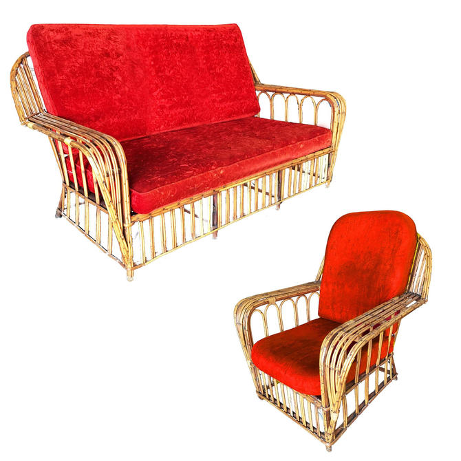 "Restored ""President's"" Art Deco Stick Rattan Living Room Set by HarveysonBeverly"