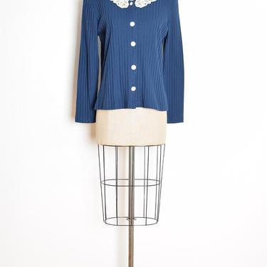 vintage 90s jacket top navy blue ribbed crochet collar cardigan shirt M L clothing by huncamuncavintage