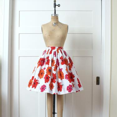 vintage 1950s full cut skirt • bright floral sun poppy print • orange red & pink charmer by LivingThreadsVintage