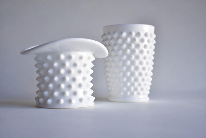 Pair of Fenton Hobnail Milk Glass Vases | Top Hat and Cup by LostandFoundHandwrks