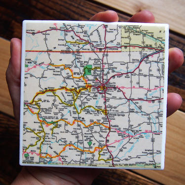 1988 Colorado Road Map Handmade Coaster - Ceramic Tile - Repurposed 1988 Readers Digest Atlas - Denver Colorado Springs Rocky Mountains by allmappedout