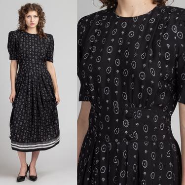 80s Black & White Floral Calendar Print Midi Dress - Medium   Vintage Circle Pattern Pleated Short Sleeve Grunge Dress by FlyingAppleVintage