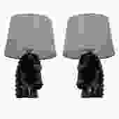 MCM Pair of Black Ceramic Horse Head Lamps
