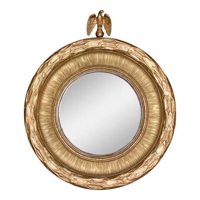 Antique 19th C Federal Gold Eagle Convex Mirror