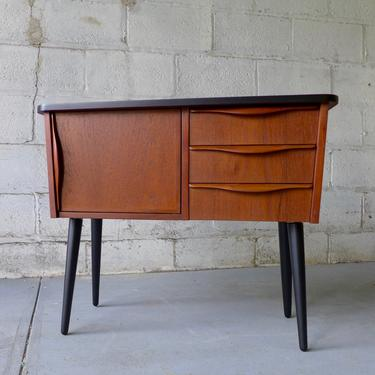 Mid Century Modern TEAK CABINET entryway table bedside splayed legs by CIRCA60