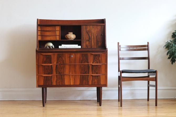 Mid Century Danish Modern Brazilian Rosewood Secretary Desk Vanity by SharkGravy