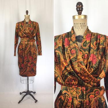 Vintage 80s suit   Vintage floral paisley velour dress   1980s Rothschild for Lilli Ann suit dress by BeeandMason