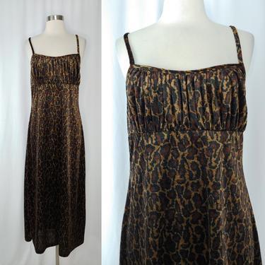 Vintage Y2K 2000 Velvet Leopard Print Spaghetti Strap Maxi Dress - XS Empire Waist Ruched Bust Dress by JanetandJaneVintage