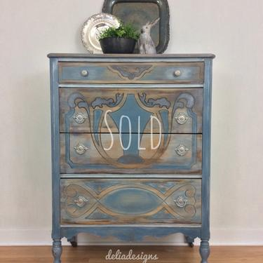 This piece is SOLD     Vintage blue and gray dresser by DeliaDesignsStudio