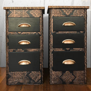 Pair of Navy & Copper Side Tables/Night Stands