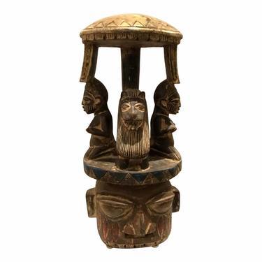 Mid-Century Modern Vintage African Tribal Carved Wood Stool