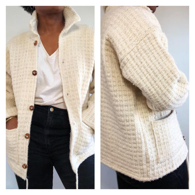 Vintage 1970s 1980s 80s Knit Cream Woven Wool Jacket Made In Ecuador Baja Poncho Button Front Drawstring Blazer Cropped Bohemian Boho M by KeepersVintage