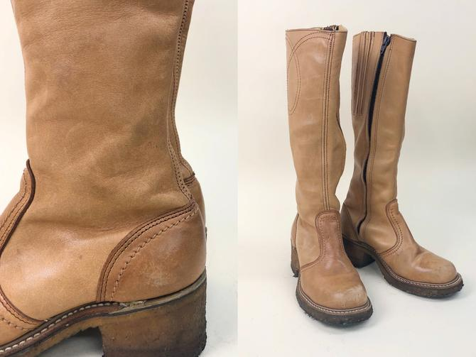 Vintage 1970s Tan Campus Boots with Crepe Sole, Vintage Campus Boots, 1970s 70s, Western, Southwestern, Boho, Hippie, Size 8/8.5 by MobyDickVintage