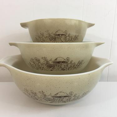 Vintage Pyrex Forest Fancies Cinderella Bowls Set of Three (3) 1980s 441 442 443 Mushrooms USA Mushroom Mixing Baking Cooking Retro KItchen by CheckEngineVintage