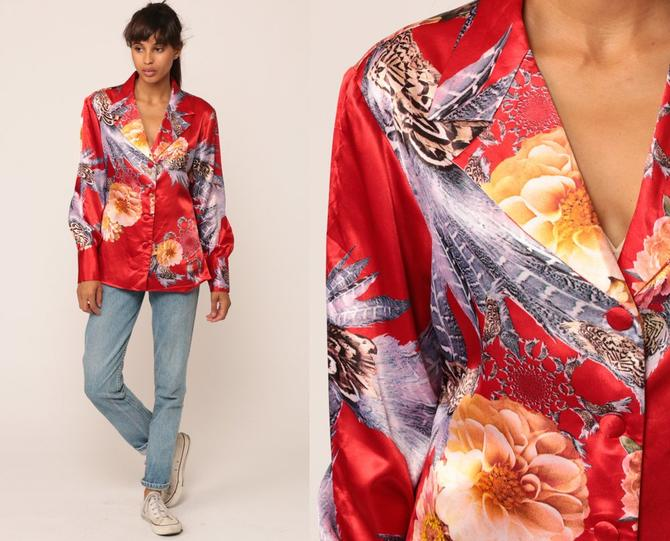 Satin Blouse Floral Shirt PSYCHEDELIC FEATHERS Long Sleeve Top 90s Grunge  Silky Red Button Up Collared Shirt 1990s Hipster Medium by ShopExile